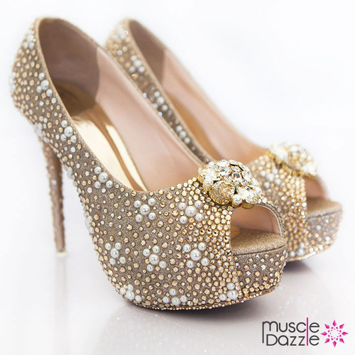 Gold and Pearl High Heel Platform Pumps (SH033)