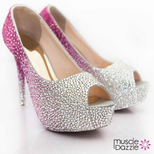 High Heel Platform Pumps with Pink to Silver Ombre Crystalling (SH034)