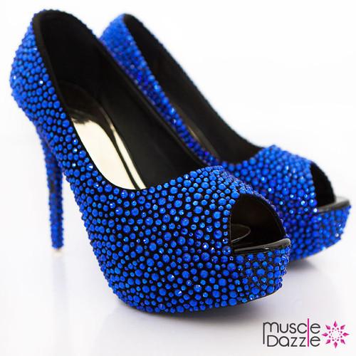 High Heel Platform Open Toe Pumps with Sapphire Blue Crystals (SH035)