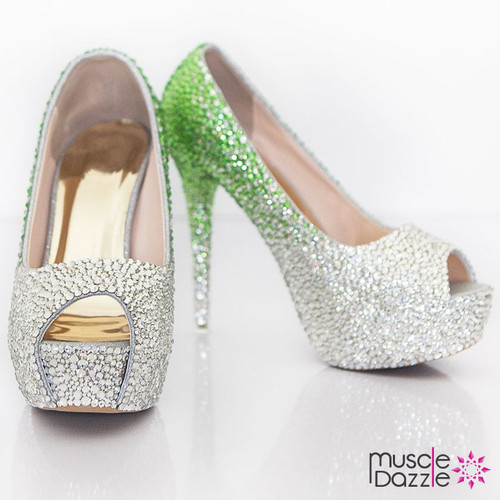 High Heel Platform Pumps with Green to Silver Ombre Crystalling (SH036)