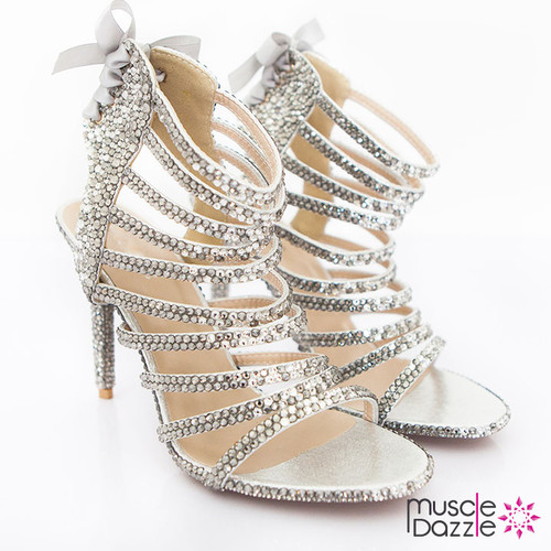 Light and Dark Silver Crystal Strappy High Heel Sandals (SH037)