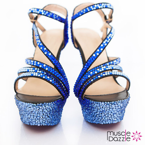 Strappy High Heel Platforms with Light and Dark Blue Crystals (SH038)
