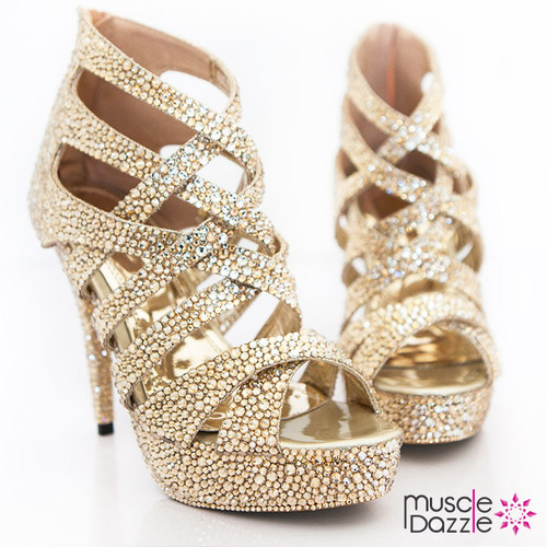 High Heel Sandals with Gold and Silver Crystals (SH039)
