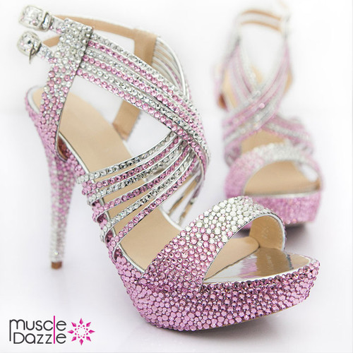 Strappy Platform Heels with Pink and Silver Crystals (SH041)