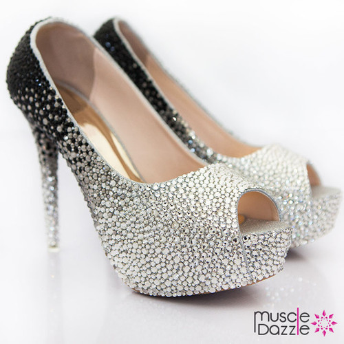High Heel Platform Pumps with Black to Silver Ombre Crystalling (SH045)