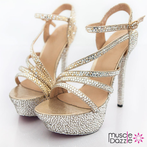Gold and silver rhinestone embellished strappy high heel sandals