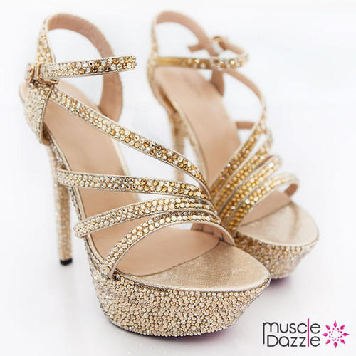 High Heel Platform Sandals with Gold and Topaz Crystals (SH049)