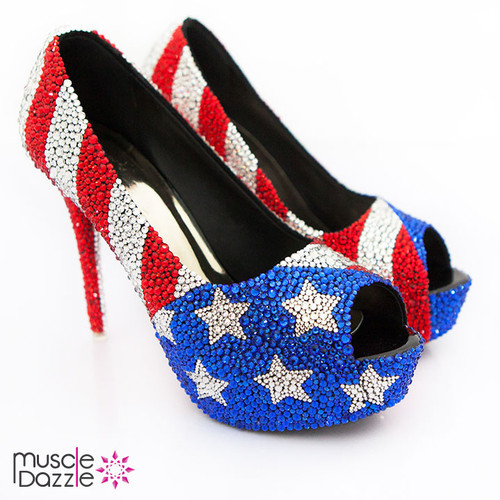 American Flag High Heel Rhinestone Shoes (SH050)