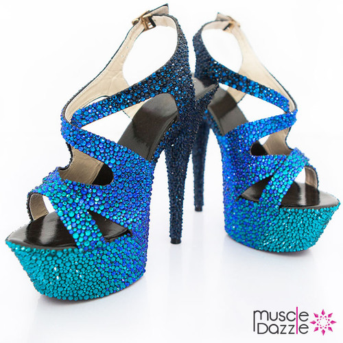 High Heel Platform Sandals with Black and Blue Crystals (SH053)