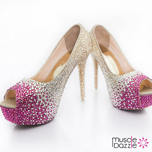 High Heel Platform Pumps with Gold to Pink Ombre Crystalling (SH052)