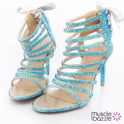 Light Blue Crystal Strappy High Heel Sandals (SH054)