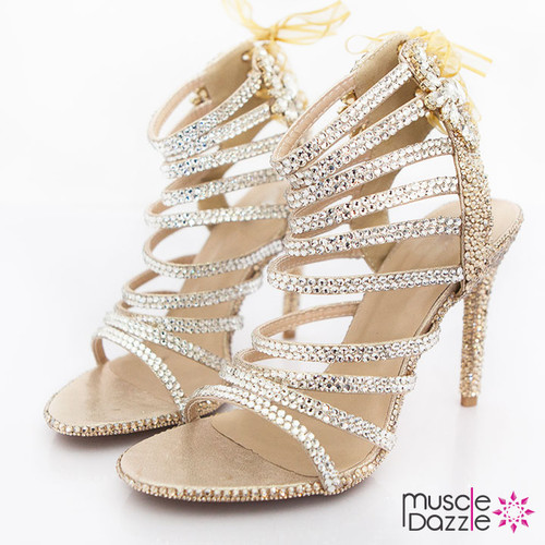 Gold and Silver Crystal Strappy High Heel Sandals (SH055)