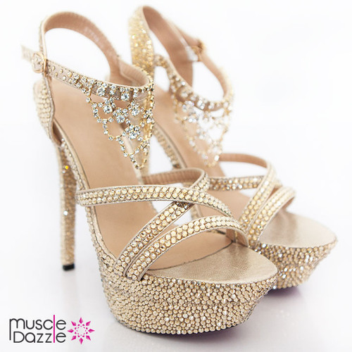 Strappy High Heel Platform Sandals with Gold Crystals (SH056)