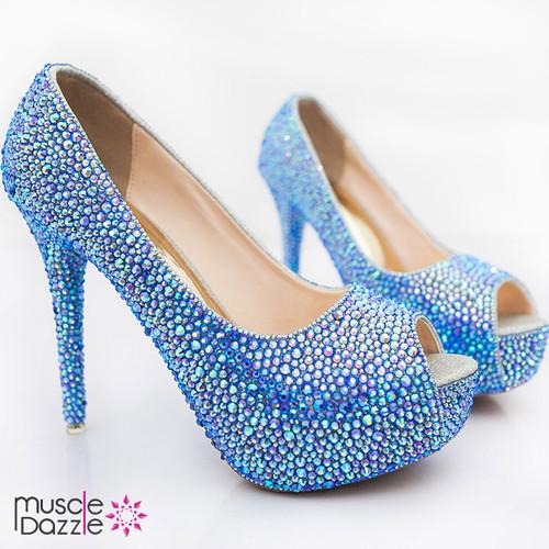 High Heel Platform Open Toe Pumps with Light Sapphire Crystals (SH058)