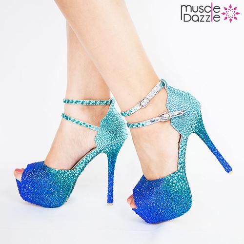 Crystal High Heel Pumps With Dark to Light Blue Crystal Blend (SH059)