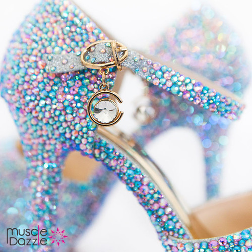 High Heel Platform Pumps With Pink and Blue Crystals (SH061)