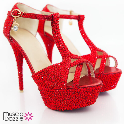 High Heel Platform Sandals with Red Crystal Rhinestones (SH065)