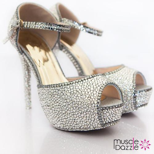 Peep Toe Platform Heels With Silver Crystals (SH063)