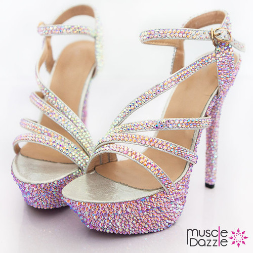 High Heel Platform Sandals with Pink and Silver AB Crystals (SH064)