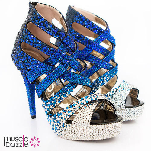 Blue and Silver Crystal High Heel Sandals (SH067)