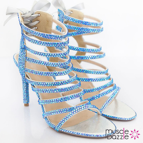Light Blue Crystal Strappy High Heel Sandals (SH068)