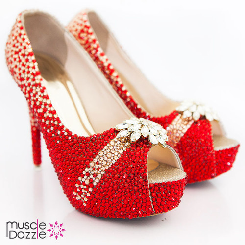 Red Rhinestone High Heel Crystal Shoes (SH071)