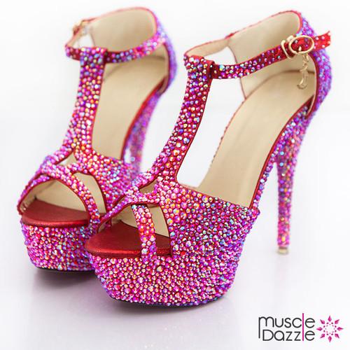 High Heel Platform Sandals with Orange & Red AB Crystals (SH074)