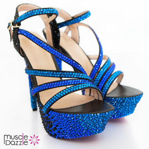 High Heel Platform Sandals with Black and Blue Crystals (SH078)