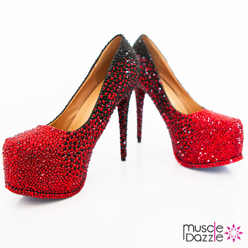 High Heel Platform Pumps with Red to Black Ombre Crystalling (SH079)