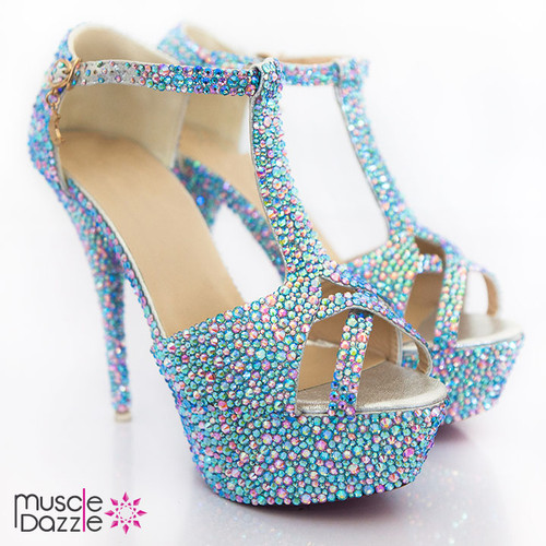 High Heel Platform Sandals With Pink and Blue Crystals (SH080)