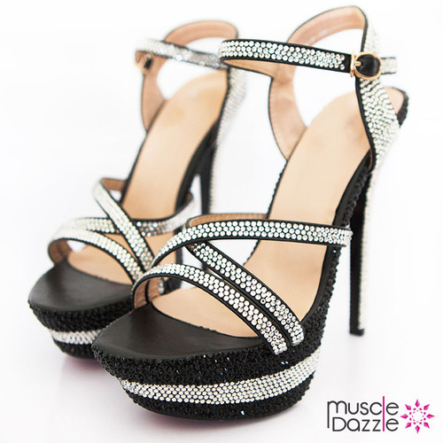 High Heel Platform Sandals With Black and Silver Crystals (SH082)