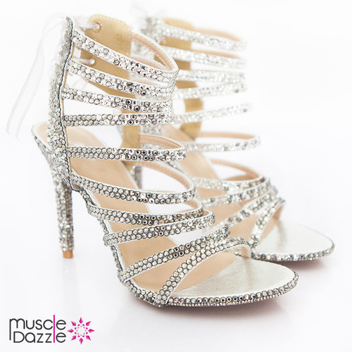 Light and Dark Silver Crystal Strappy High Heel Sandals (SH083)