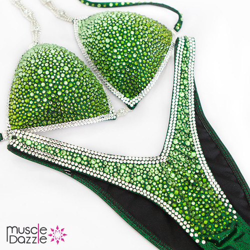 Ready Made Green Ombre Figure Competition Suit (FS329RM)