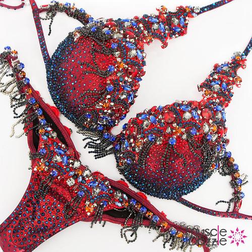 Red and blue theme wear diva bikini