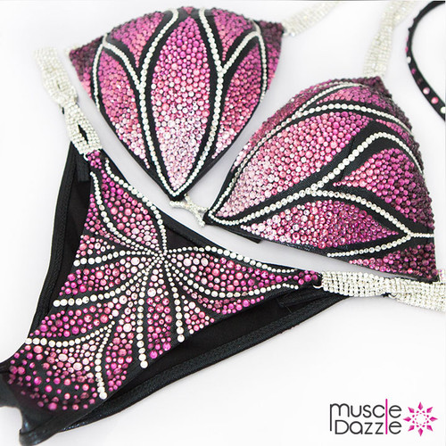 Ready Made Pink and purple crystal bikini competition suit (CB429RM)