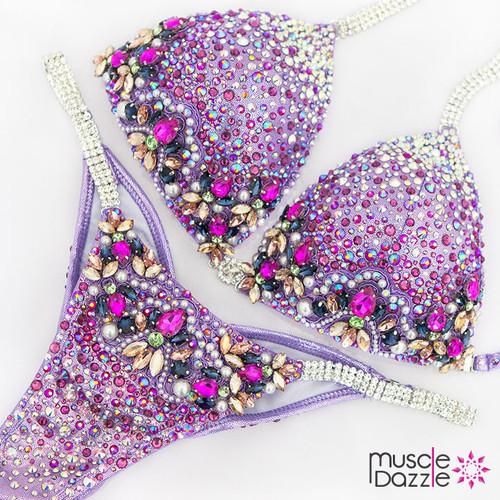 Purple crystal competition bikini (CB539)