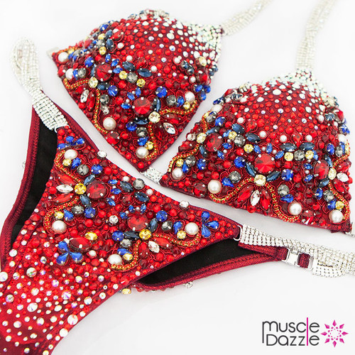 Red crystal competition bikini (CB540)
