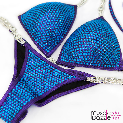 Ready Made Blue crystal bikini competition suit (CB371RM)