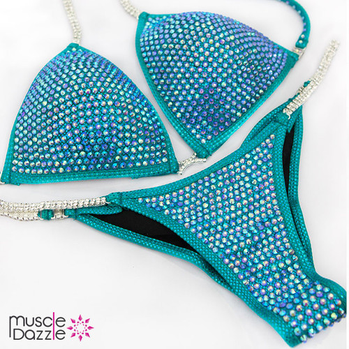 Ready Made Sapphire blue crystal bikini competition suit (CB424RM)