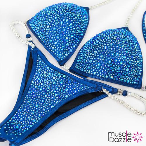 Sapphire blue crystal bikini competition suit (CB402)