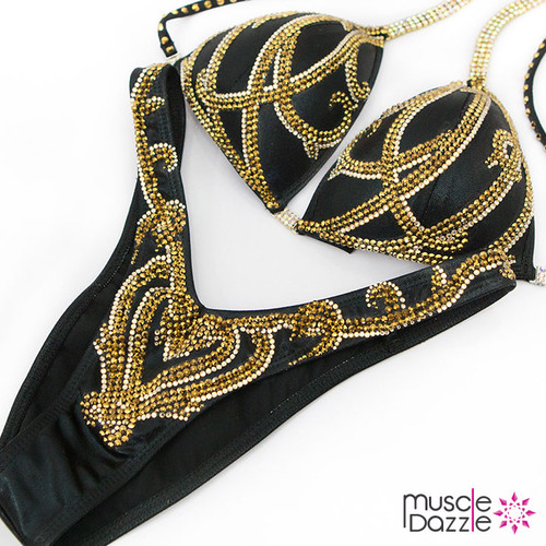 Black and Gold Figure Competition Suit (FS368)