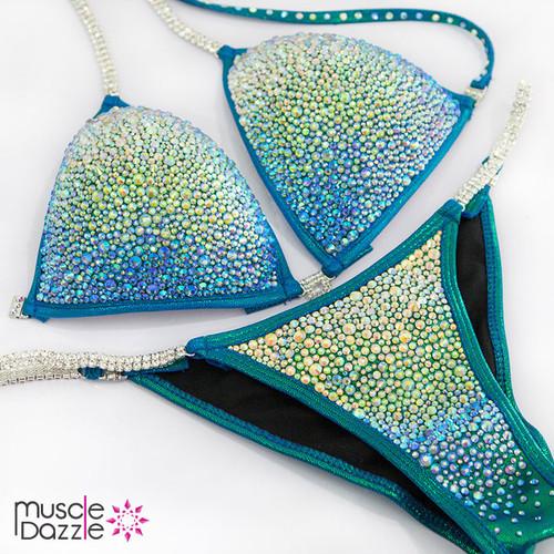 Blue Green Rhinestone Competition Bikini (CB302)