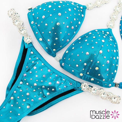 Ready Made Affordable aqua blue competition bikini (CB553RM)
