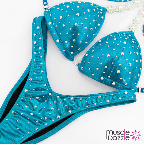 Ready Made Affordable aqua blue figure competition suit (FS516RM)