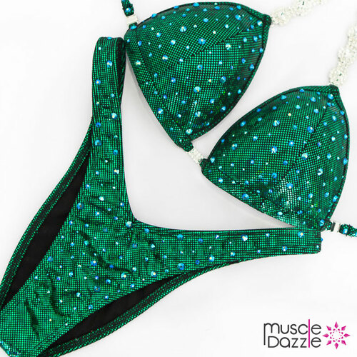 Ready Made Affordable green figure competition suit (FS517RM)