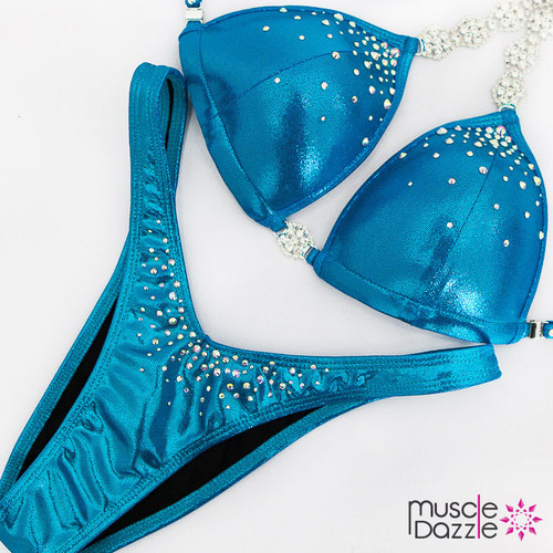Ready Made affordable aqua blue figure competition suit (FS524RM)