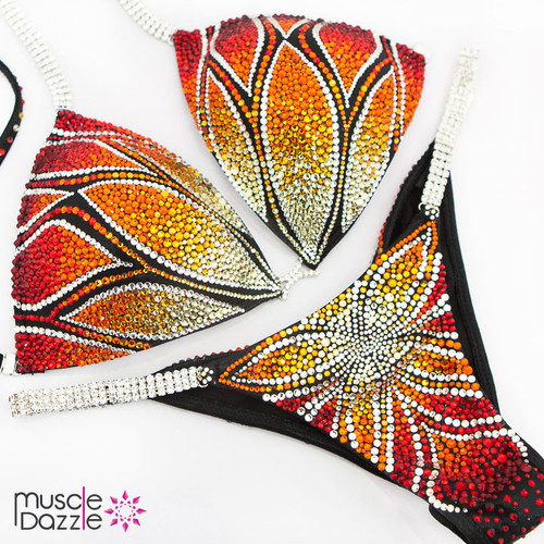 Orange flame competition bikini