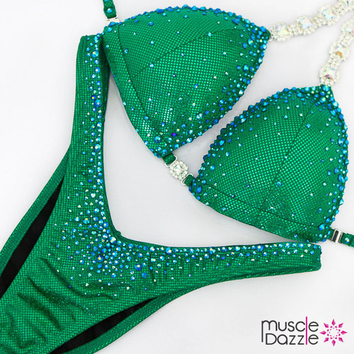 Ready Made Affordable green crystal competition bikini (FS557RM)