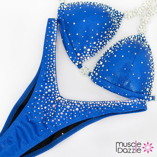Ready Made Affordable blue crystal competition bikini (FS554RM)
