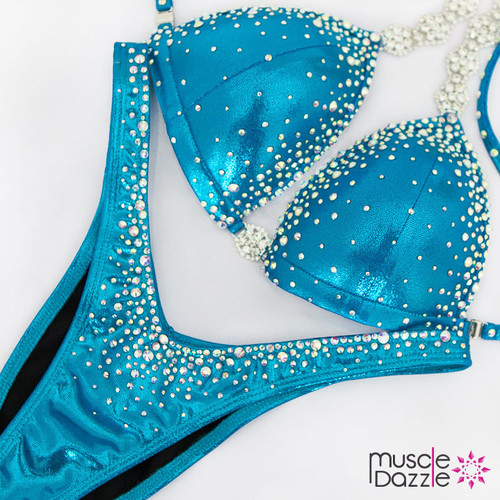 Ready Made Affordable blue crystal competition bikini (FS556RM)